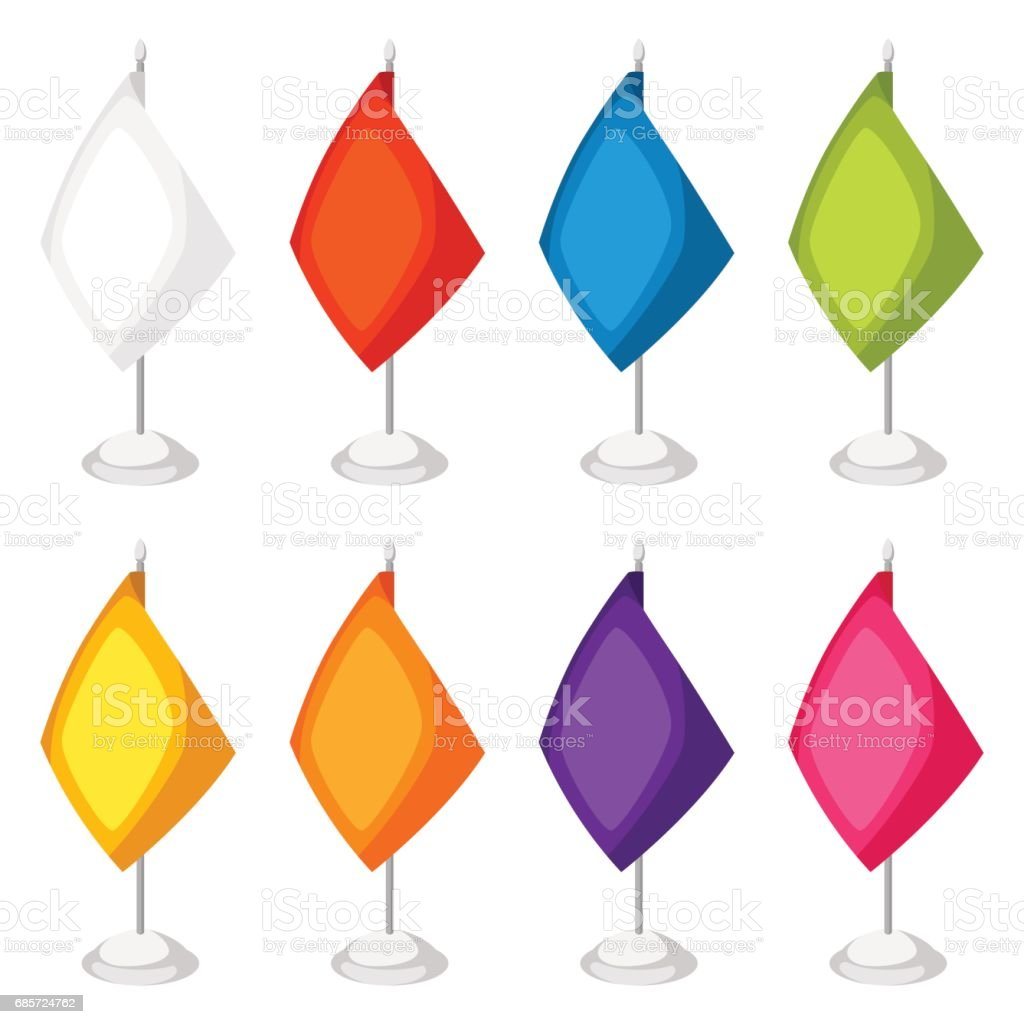 Colored flags templates. Set of promotional gifts and souvenirs royalty-free colored flags templates set of promotional gifts and souvenirs exhibition에 대한 스톡 벡터 아트 및 기타 이미지