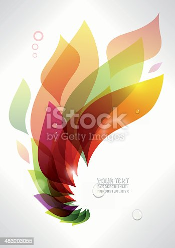 EPS 10 Vector illustration. Colored background with fire for your contemporary layouts. Typography is self created. Insert your own text / design. Used transparencies, opacityes and simple gradients. Easy to edit. RGB color mode. (include AI-CS3, EPS10, JPEG 1979x2800px)