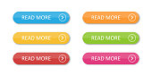 istock Colored flat buttons collection isolated. Colorful buttons read more. For web or applications. 1163484585