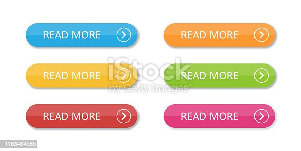 Colored flat buttons collection isolated. Colorful buttons read more. For web or applications. EPS 10