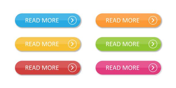 彩色平面按鈕集合隔離。五顏六色的按鈕閱讀更多內容。用於 web 或應用程式。 - 按鈕 幅插畫檔、美工圖案、卡通及圖標