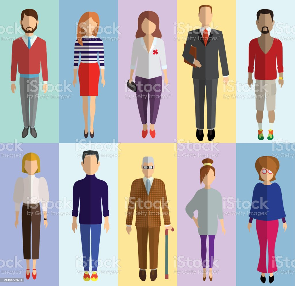 colored flat characters vector art illustration