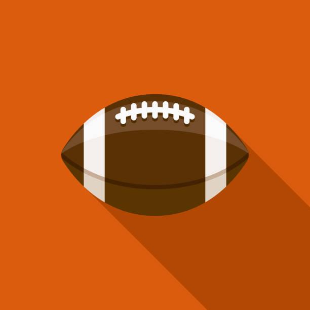 ilustraciones, imágenes clip art, dibujos animados e iconos de stock de icono de otoño diseño plano del fútbol con sombra lateral - american football