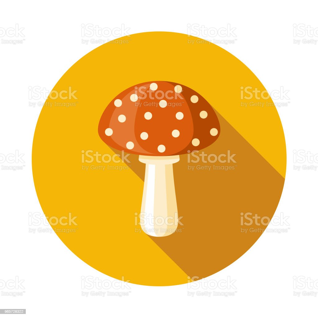 Mushroom Flat Design Autumn Icon with Side Shadow - Royalty-free Autumn stock vector