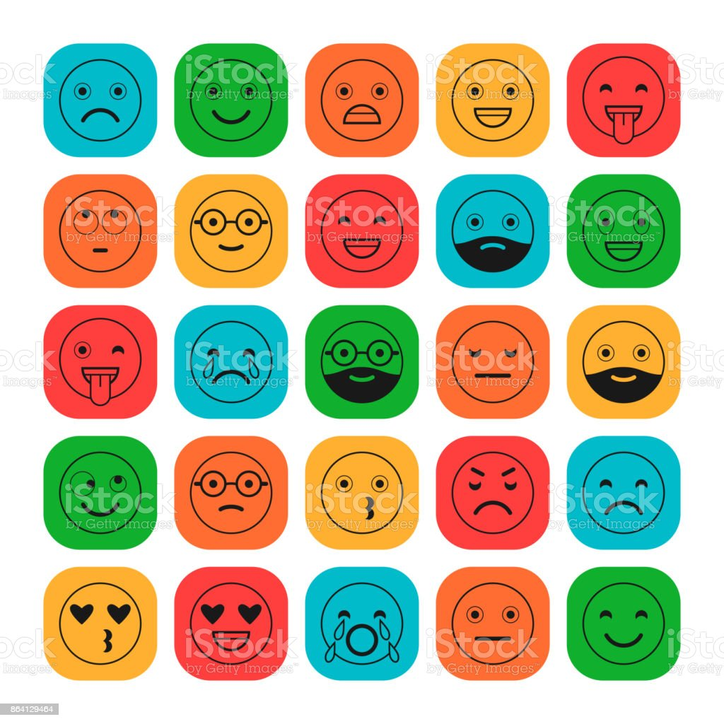 Colored flat icons of emoticons. Smile with a beard, different emotions, moods. royalty-free colored flat icons of emoticons smile with a beard different emotions moods stock vector art & more images of anger