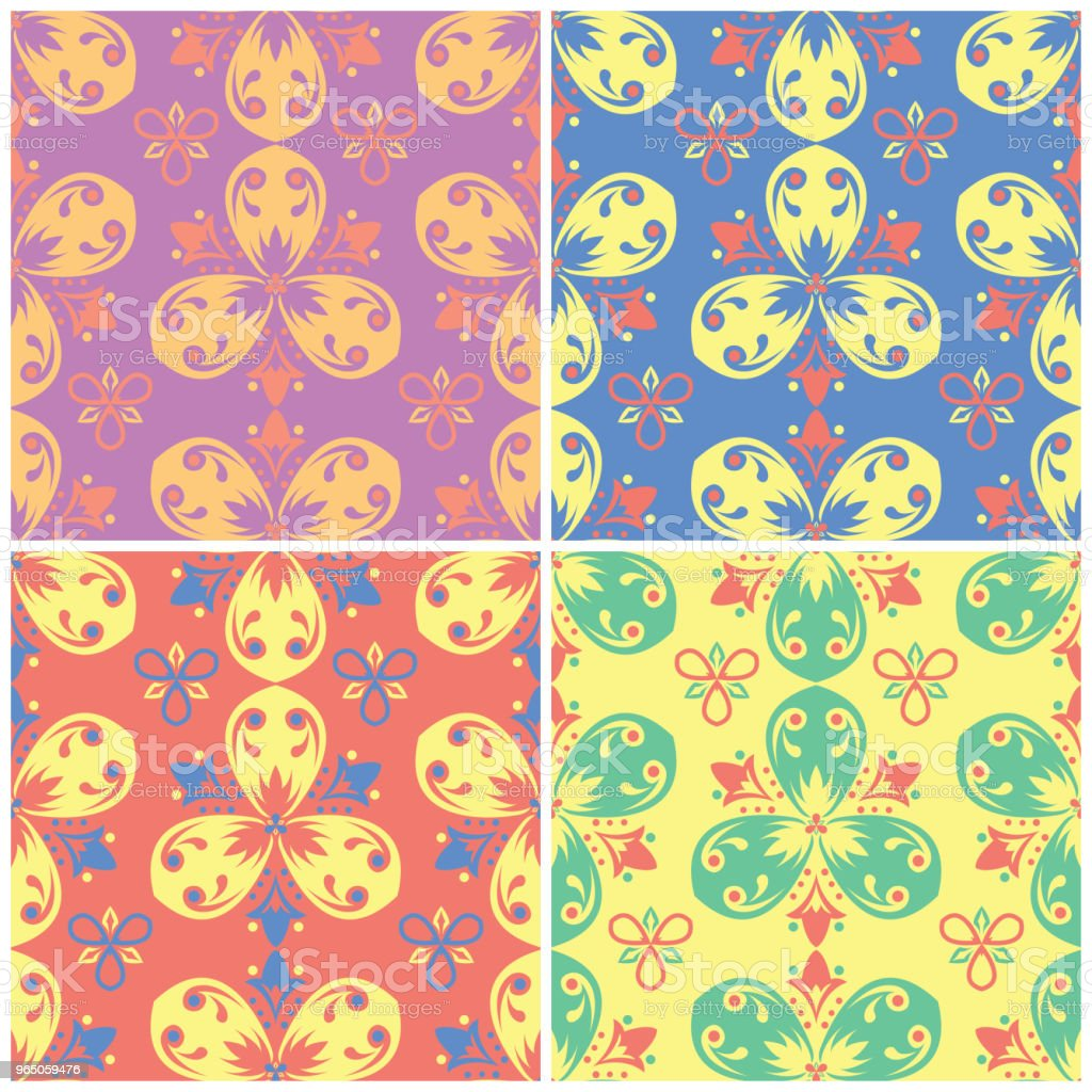 Colored floral seamless backgrounds. Set of bright patterns with flower elements colored floral seamless backgrounds set of bright patterns with flower elements - stockowe grafiki wektorowe i więcej obrazów abstrakcja royalty-free