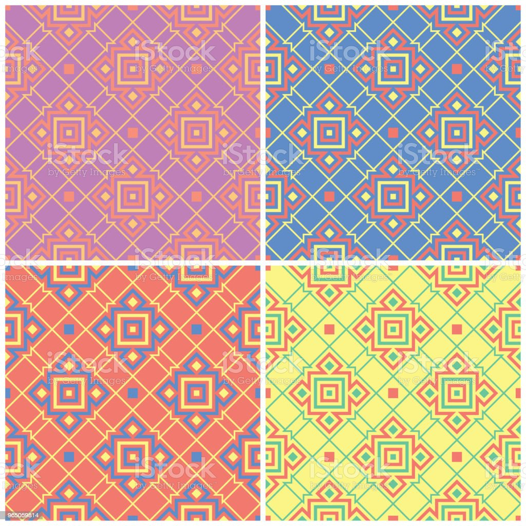 Colored floral seamless backgrounds. Set of bright patterns with geometric elements royalty-free colored floral seamless backgrounds set of bright patterns with geometric elements stock vector art & more images of abstract