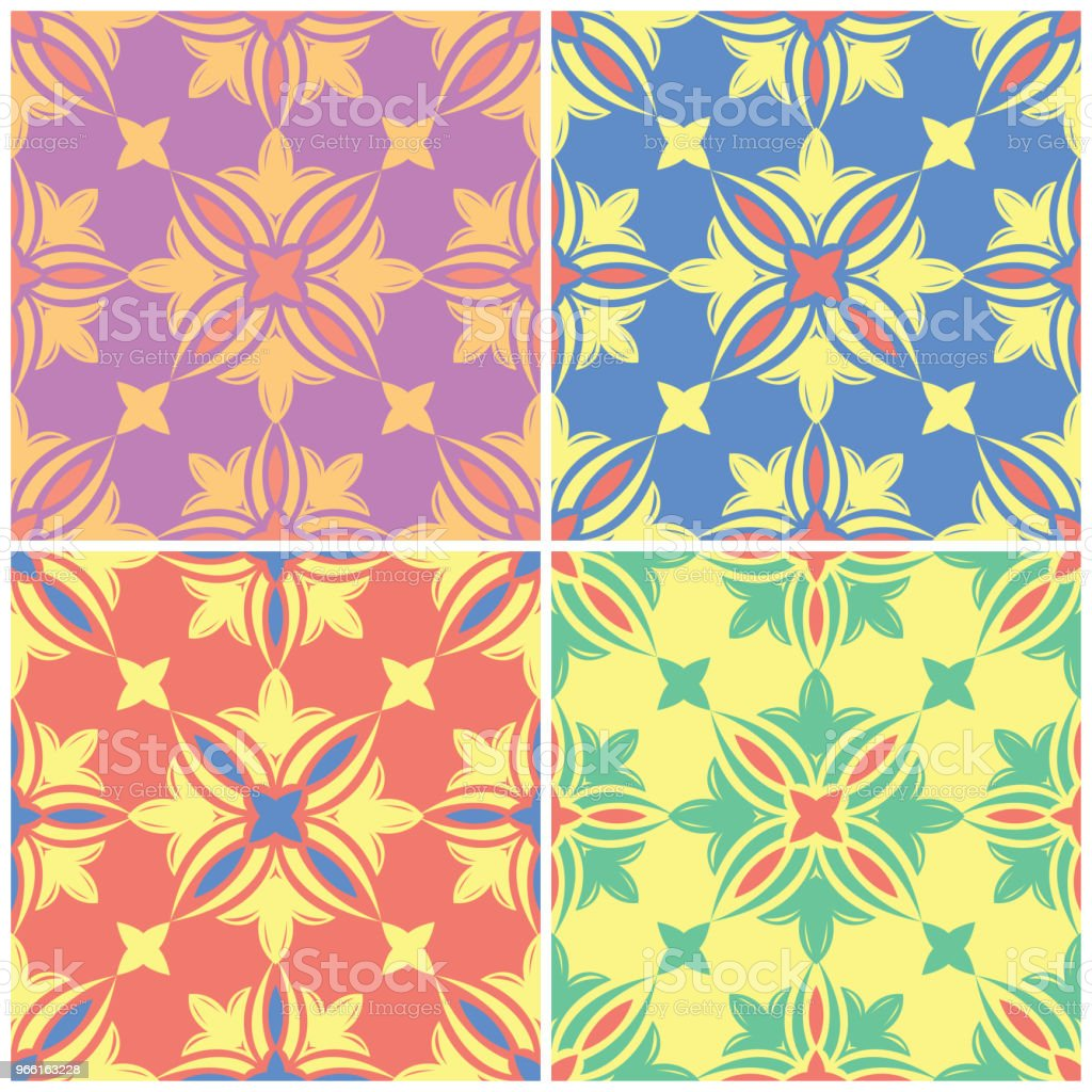 Colored floral seamless backgrounds. Set of bright patterns with flower elements - arte vettoriale royalty-free di Arabesco - Motivo ornamentale