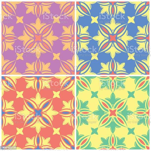 Sfondi Floreali Colorati Senza Cuciture Set Di Motivi Luminosi Con Elementi Floreali - Immagini vettoriali stock e altre immagini di Arabesco - Motivo ornamentale