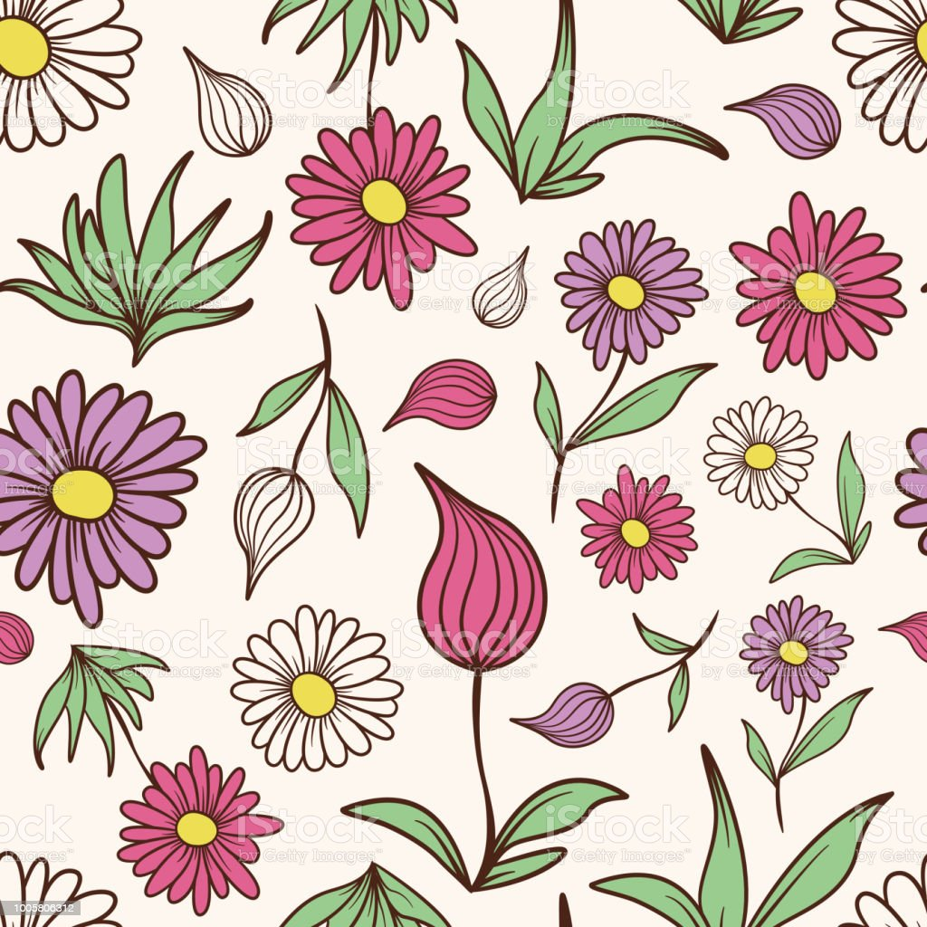 Colored Flowers and Leaves Pattern vector art illustration