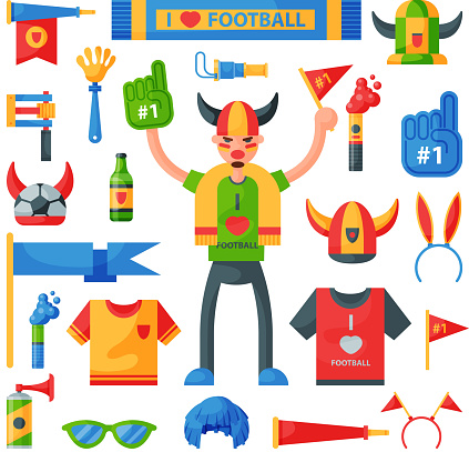 Colored football soccer fan attribute rooter buff man sport character accessories tools to cheer for your favorite team vector illustration