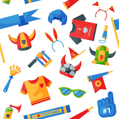 Colored football soccer fan attribute rooter buff man sport character accessories tools to cheer for your favorite team vector seamless pattern background