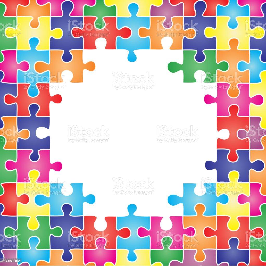 Bunte Rahmen Aus Stücke Des Puzzles Stock Vektor Art und mehr Bilder ...