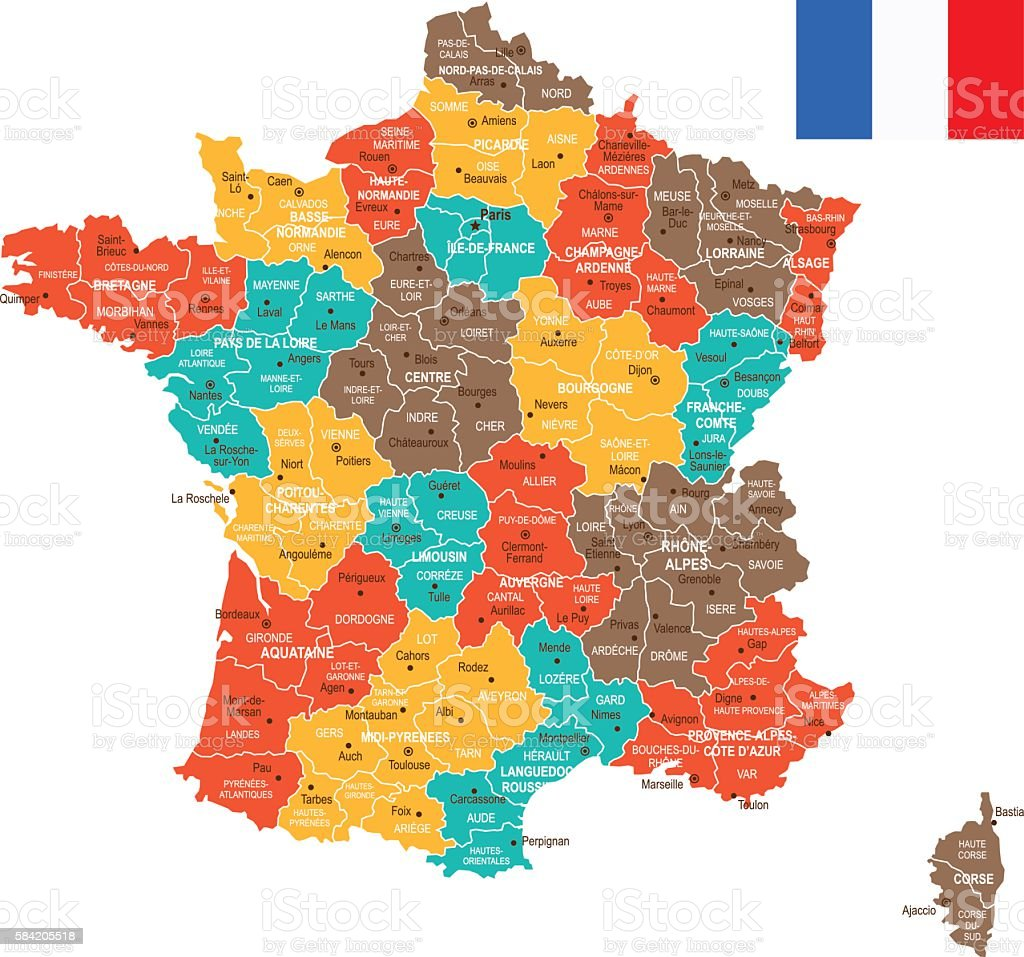 Colored France Map - Illustration vectorielle