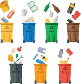 Colored garbage cans with waste types vector