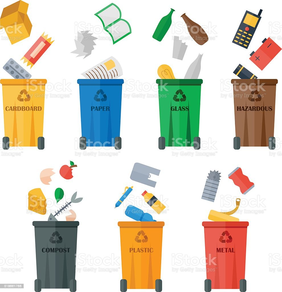 Colored garbage cans with waste types vector vector art illustration
