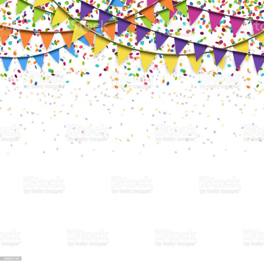 ガーランドと紙吹雪の背景色 - お祝いのベクターアート素材や画像を多数