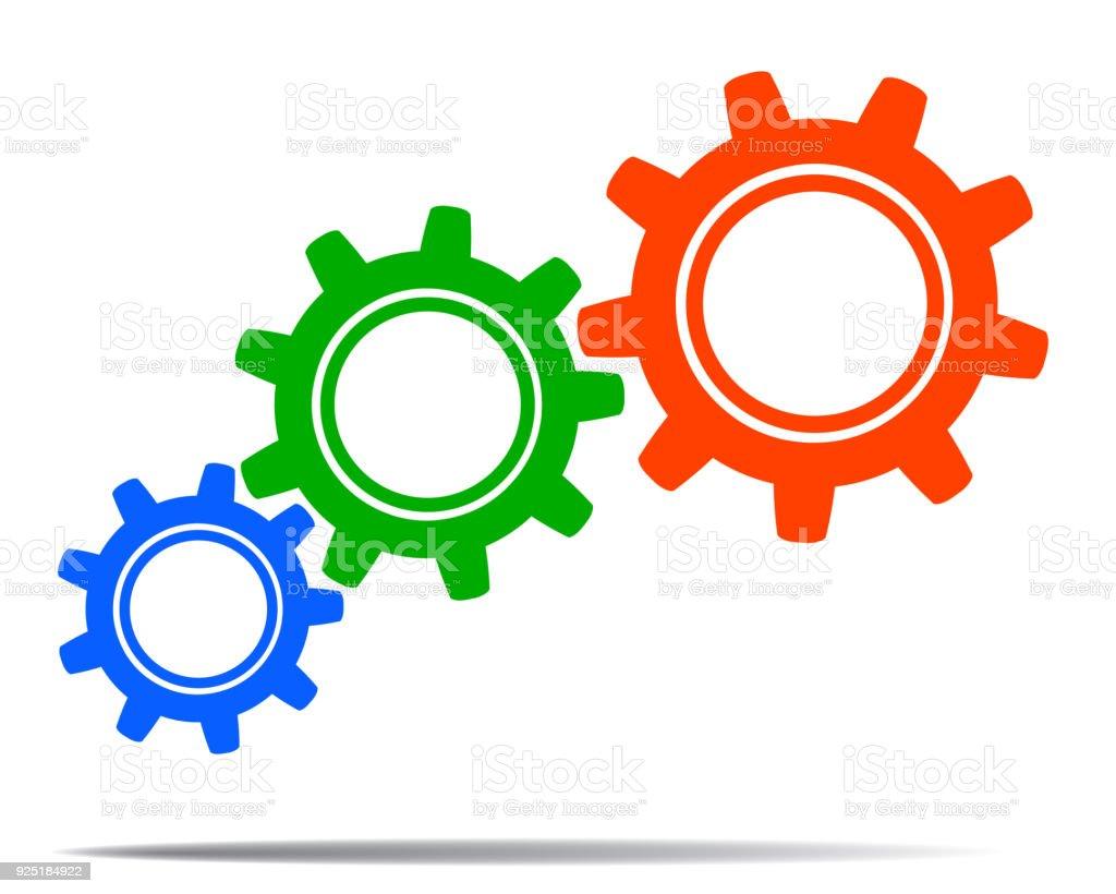 Ilustración De Engranajes De Colores Concepto Trabajo En