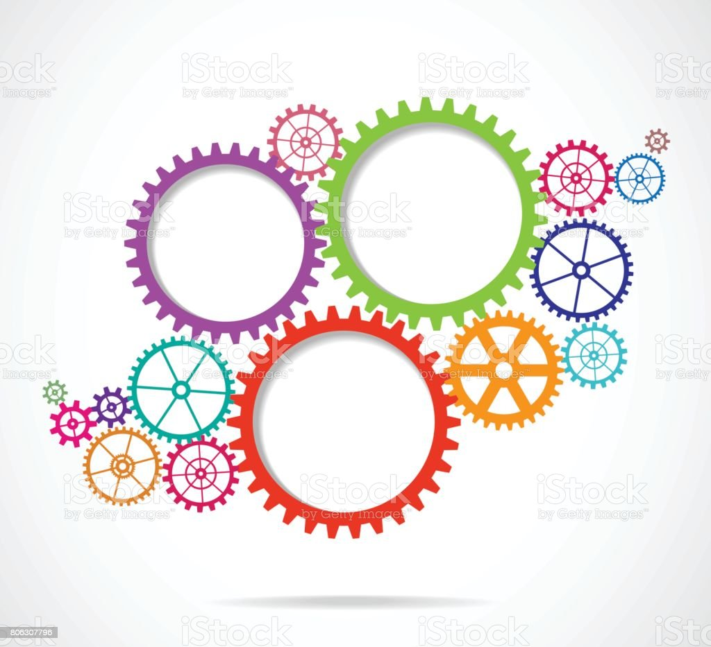 Colored Gears vector art illustration