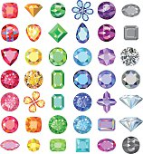 Popular low poly colored gems cuts set gradation by color of the rainbow isolated on white background, vector illustration