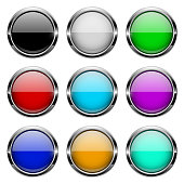 Colored glass 3d buttons with chrome frame. Round icons. Vector illustration isolated on white background