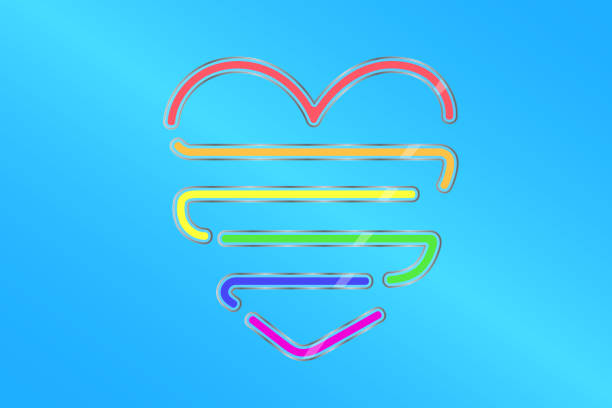 colored gloss glass in form of heart and color of lgbt flag on blue background. minority rights protection concept. vector illustration eps 10 - minority stock illustrations, clip art, cartoons, & icons