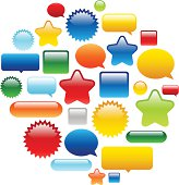 Collection of brightly colored glossy web buttons perfect for adding text or icons.