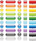 Collection of brightly colored glossy web buttons perfect for adding text or icons. Image contains transparency, 10 EPS.