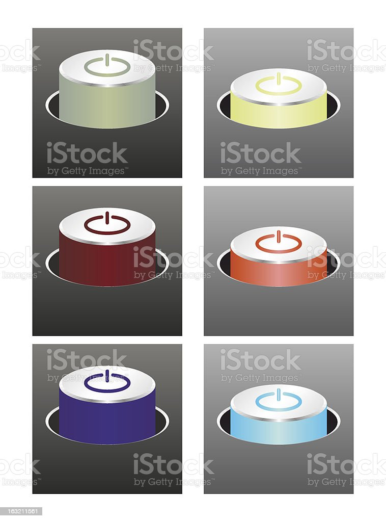 Colored glowing buttons vector art illustration