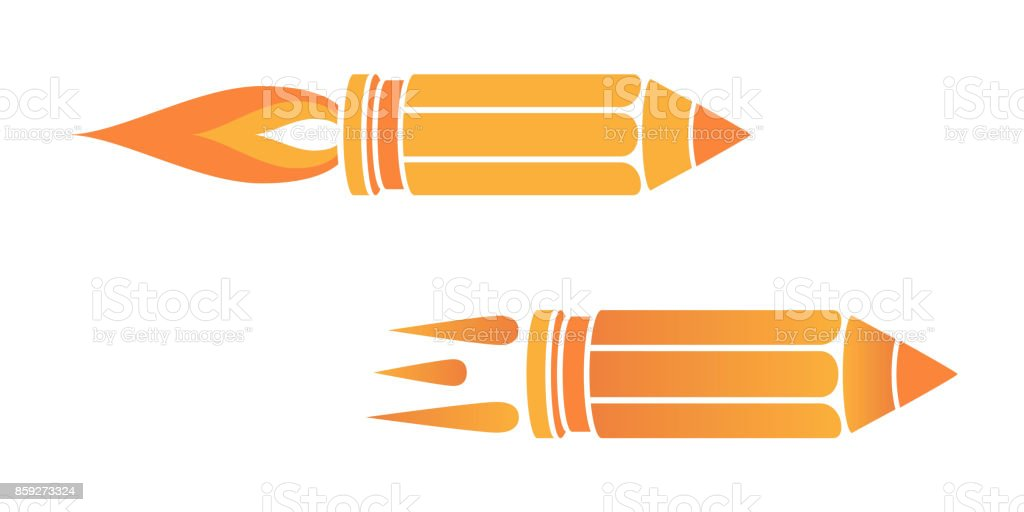 A Colored Graphic Set Of Icons Flying Pencil Like Bullet As Symbol