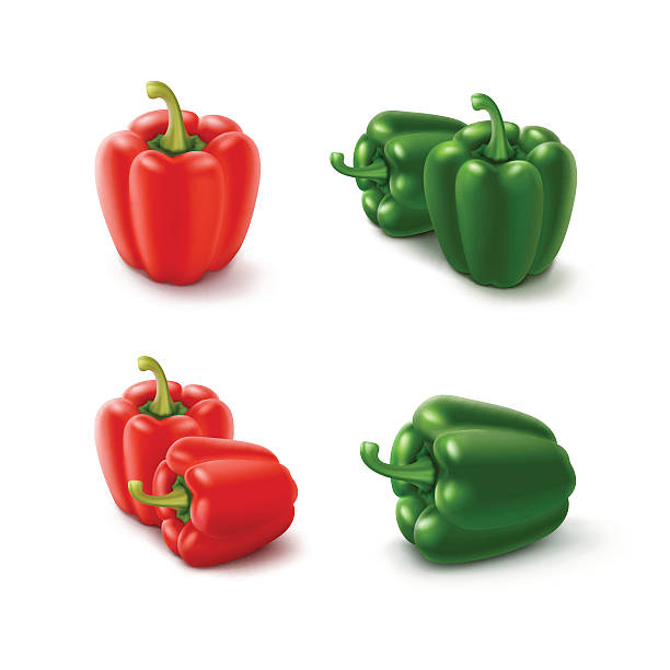 ilustrações de stock, clip art, desenhos animados e ícones de colored green and red sweet bell peppers - red bell pepper isolated