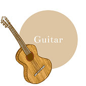 Colored Guitar. Musical Instrument in Hand Drawn Style for Surface Design Fliers Prints Cards Banners. Vector Illustration