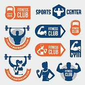 Set of blue and orange gym and fitness labels, signs and symbols with athletic man and woman silhouettes