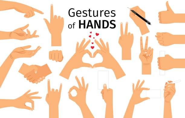 farbige hand-geste-set - gestikulieren stock-grafiken, -clipart, -cartoons und -symbole