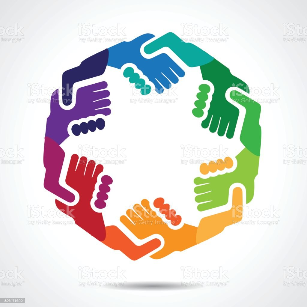 Colored hand shake symbols vector art illustration