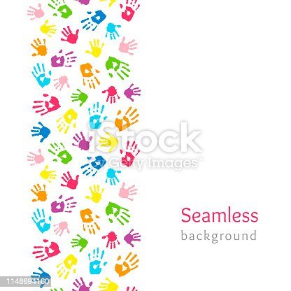 Colored hands on white. Seamless vertical border made of handprints. Endless colorful background. Vector illustration