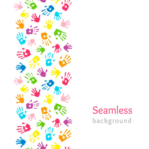 farbige hände auf weiß. nahtlose vertikale grenze aus handabdrücken. endlos bunte hintergründe. vektorabbildung - kind stock-grafiken, -clipart, -cartoons und -symbole
