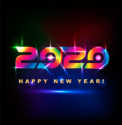 Colored Happy New Year 2020 With Spotlight Effect Stock ...