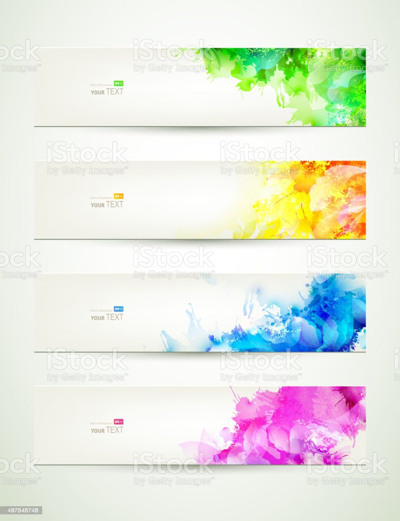 colored headers vector art illustration