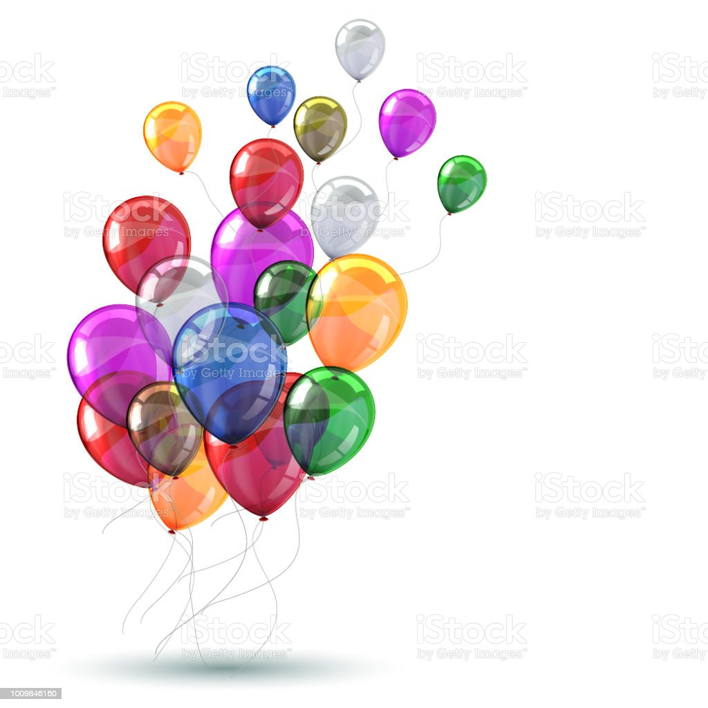 Colored helium balloons - vector for stock vector art illustration