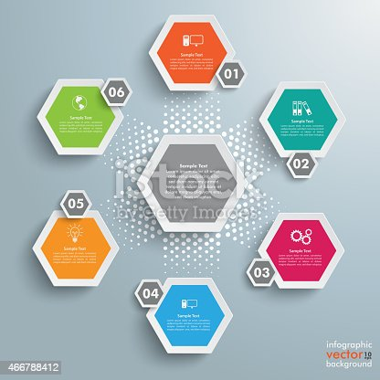 istock 6 Colored Hexagons Background Halftone Cylce 466788412