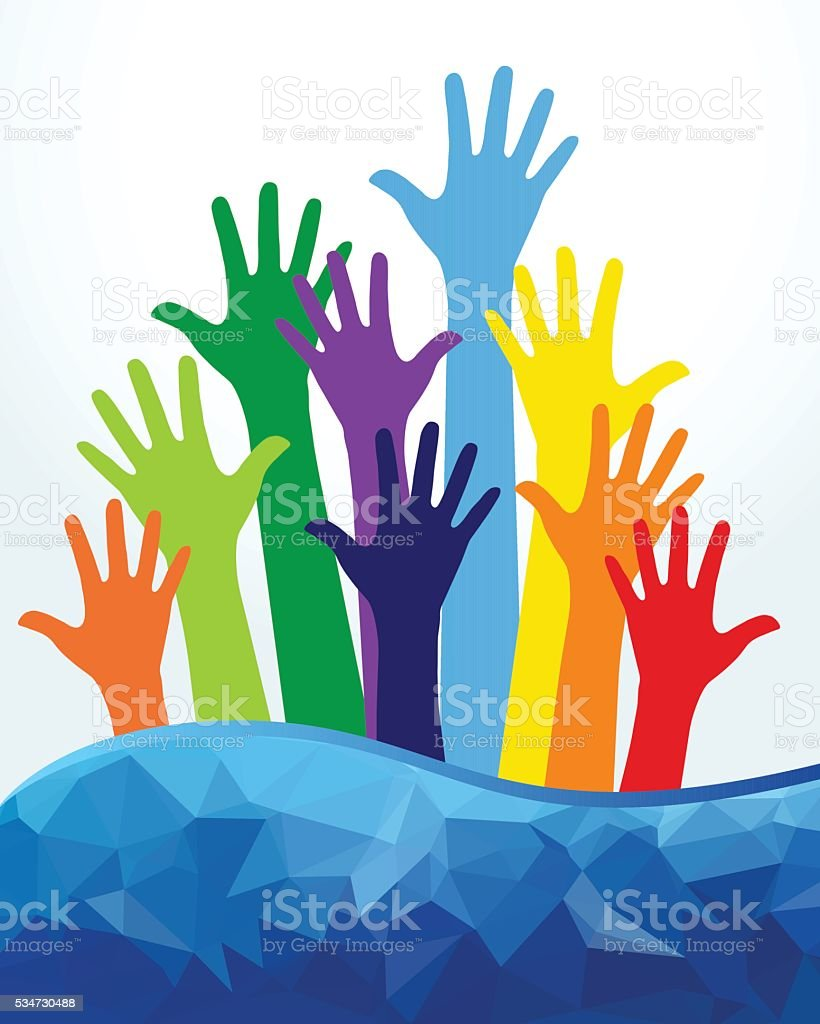 Colored Human Hands vector art illustration