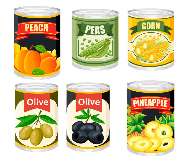 ilustrações de stock, clip art, desenhos animados e ícones de colored icon collection food in aluminum can. canned fruits and olives. product for supermarket and shop. flat vector illustration isolated on background - latão