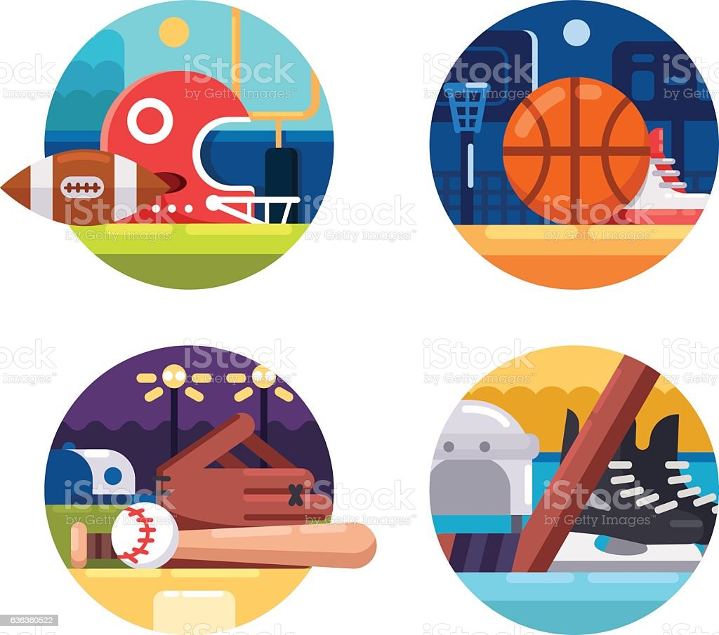 Colored icons popular sports vector art illustration