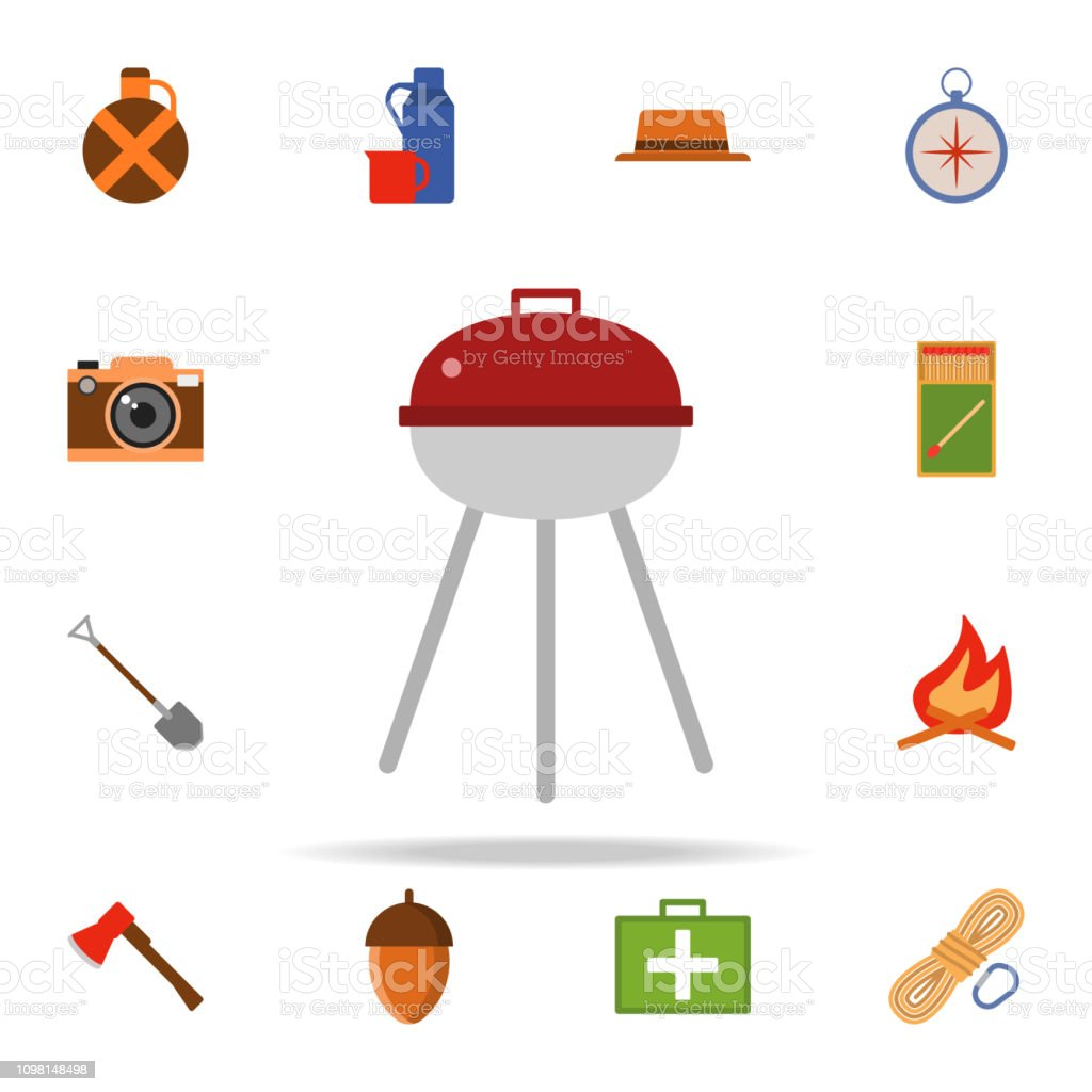 B-B-Q colored illustration icon. Camping icons universal set for web...