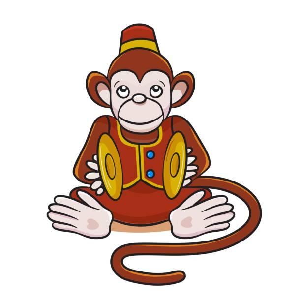 colored illustration of cartoon monkey with cymbals. - talerz perkusyjny stock illustrations