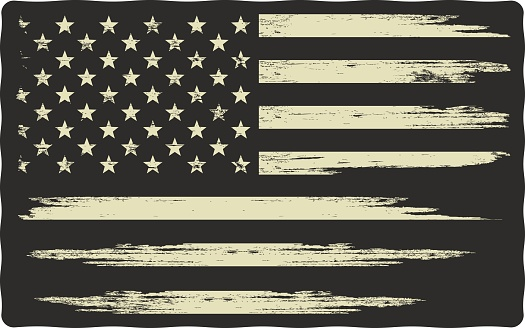 Vector illustration with a grunge texture on a black background. Illustration on the theme of freedom and independence of America.