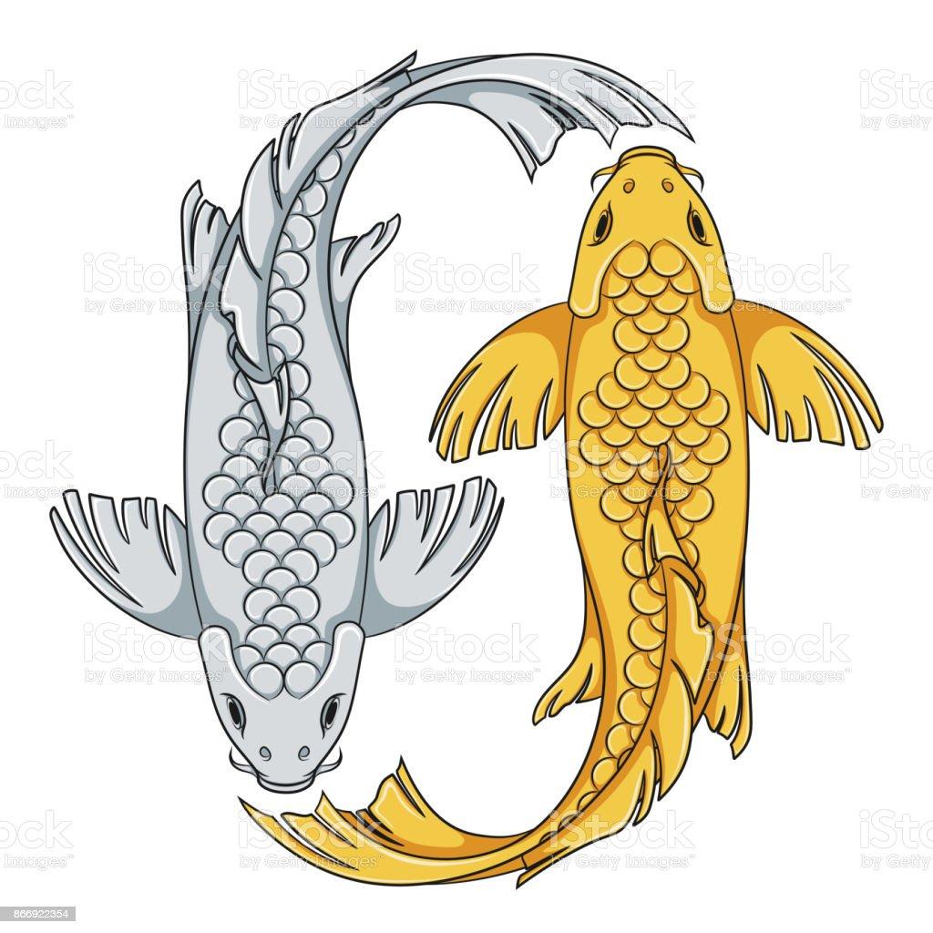 Ilustración de Color Ilustración De Oro Y Plata Colores Carpas Koi ...