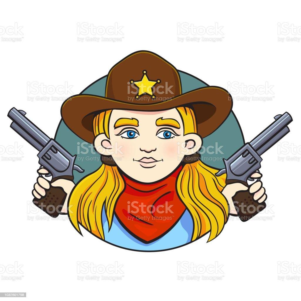 Colorido em ilustração em vetor estilo dos desenhos animados com jovem num  chapéu de xerife e 403e31bfe7f