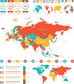 Colored Infographic Eurasia Map